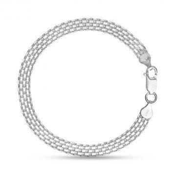 Дамска сребърна гривна плетка бисмарк 3755