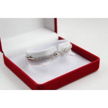 Родирана самска сребърна твърда гривна с бели камъни Безкрайност 3756