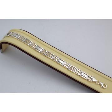 Дамска сребърна гривна на елементи с гръцка гравюра 3759