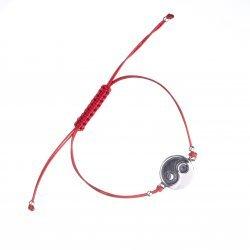 Сребърна регулираща се гривна с червен конец Ин Ян 3765