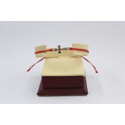 Сребърна регулираща се гривна с кръст 3766