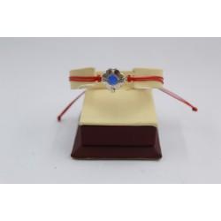 Сребърна регулираща се гривна червен конец цвете със син камък 3769