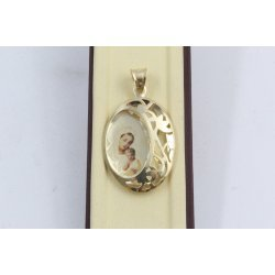Дамски златен медальон цветна богородица елипса жълто злато 3787