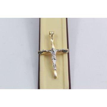 Златен медальон усукан кръст с разпятие бяло жълто злато 3788