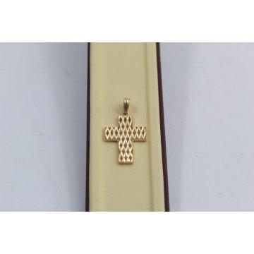 Дамски златен медальон кръст жълто злато 3790