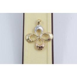 Дамски златен медальон цвете бяло жълто розово злато 3791