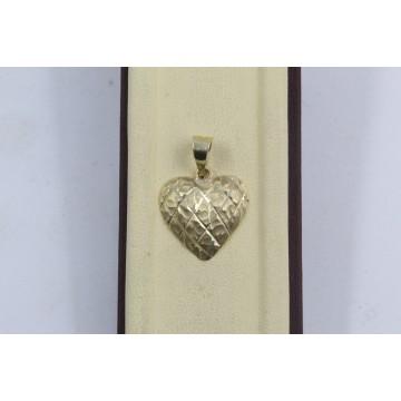 Дамски златен медальон сърце жълто злато 3793