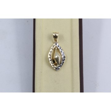 Дамски златен медальон бяло жълто злато 3794