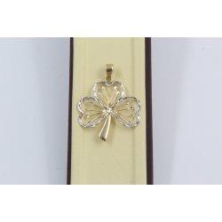 Дамски златен медальон цвете бяло жълто злато 3795