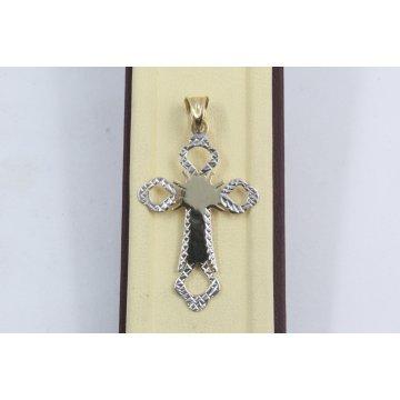Дамски златен лазерно гравиран медальон кръст бяло жълто злато 3802