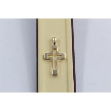 Дамски златен медальон обемен кръст жълто злато 3805