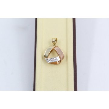 Златен женски медальон бяло розово жълто злато 3806