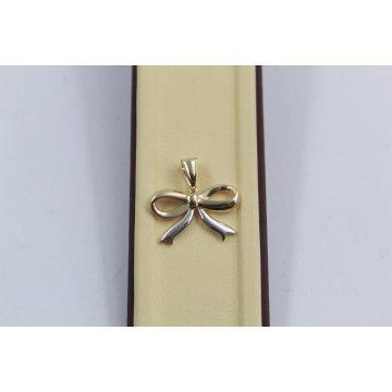 Дамски златен медальон панделка бяло и жълто злато 3808