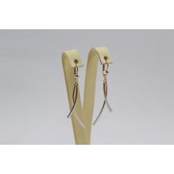 Дамски златни висящи обеци бяло жълто злато 3814