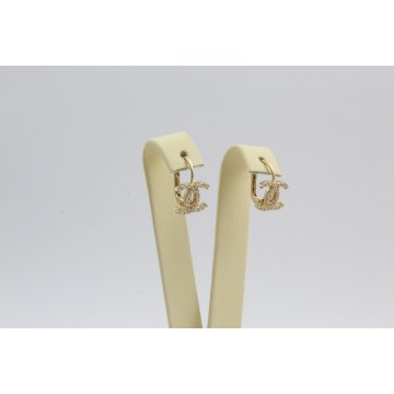 Дамски златни обеци жълто злато бели камъни 3816