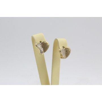 Дамски златни обеци сърца жълто и бяло злато 3816