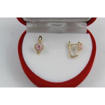 Златни детски обеци цветя с розови и бели камъни жълто злато 3819