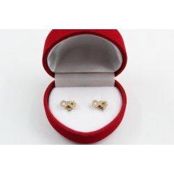 Дамски златни обеци безкрайности жълто злато бели камъни 3817