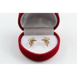 Златни детски обеци делфини жълто злато 3821