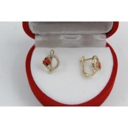 Златни детски обеци с калинки жълто злато бели камъни 3822