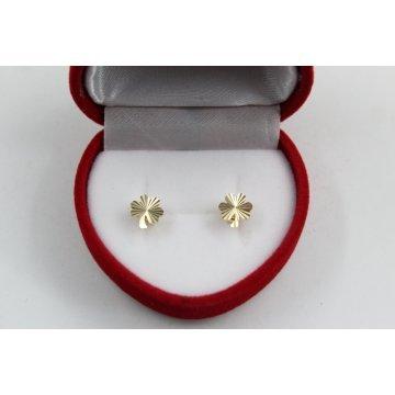 Златни дамски обеци детелини жълто злато 3824
