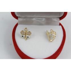 Златни детски обеци пеперуди жълто злато бели камъни 3825