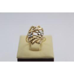 Златен дамски пръстен с цветя бяло жълто злато 3829