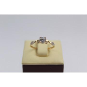 Златен дамски годежен пръстен жълто бяло злато 3833