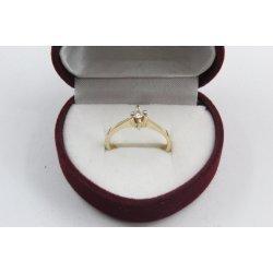 Златен дамски годежен пръстен бял камък жълто злато 3834