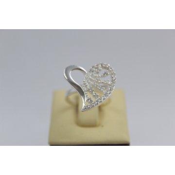 Дамски сребърен пръстен сърце с бели камъни Амур 3835