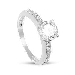 Дамски сребърен годежен пръстен с централен бял циркон 3836