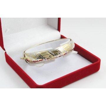 Златна женска твърда гривна бяло и жълто злато 3846