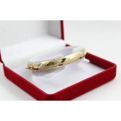 Златна женска твърда гривна жълто бяло злато 3846