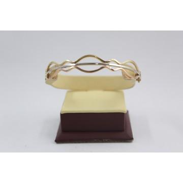 Златна женска твърда гривна бяло жълто червено злато 3847
