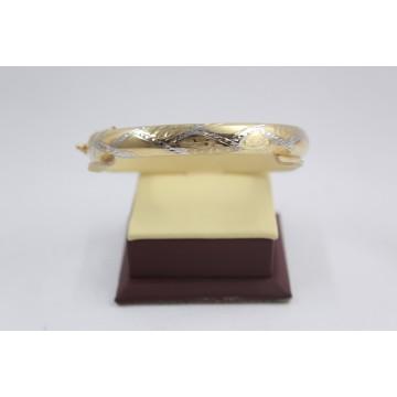 Златна женска твърда гривна бяло и жълто злато 3848