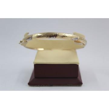 Златна женска твърда гривна бяло и жълто злато 3849
