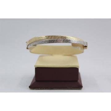 Златна женска твърда гривна елипса бяло и жълто злато гръцки елементи 3850
