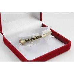 Златна дамска твърда гривна бяло и жълто злато бели камъни 3851