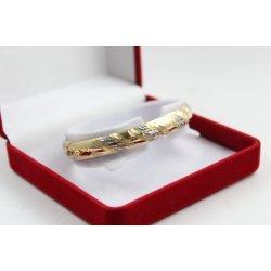 Златна дамска твърда гривна бяло и жълто злато 3851