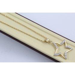 Дамско златно колие Звезда жълто злато бели камъни 3857