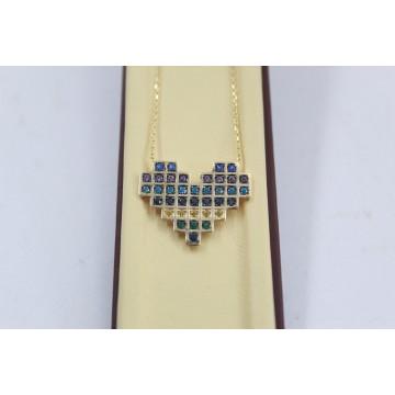 Дамско златно колие сърце с цветни камъни жълто злато 3861
