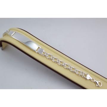 Сребърна гривна с плочка 3886