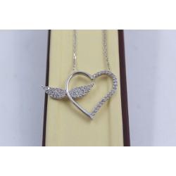 Дамско сребърно родирано колие сърце с крила с бели камъни 3888