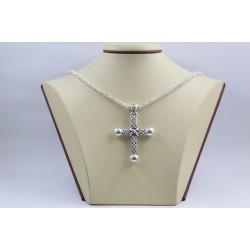 Дамско сребърно колие с обемен кръст кралска плетка 3892