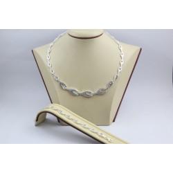 Дамски сребърен родиран комплект колие гривна 3894