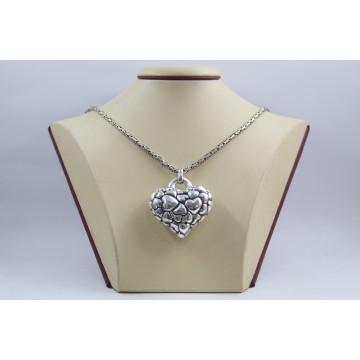 Дамско сребърно колие с обемно тъмно сърце кралска плетка 3901