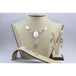 Дамски сребърен комплект Симона 1 колие гривна обеци 3902