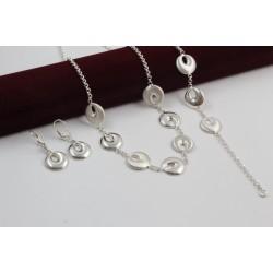 Дамски сребърен комплект Симона 2 колие гривна обеци 3906