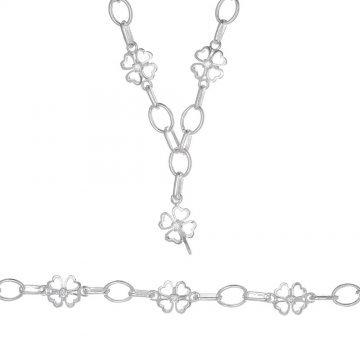 Дамски сребърен комплект с детелини колие гривна 3906