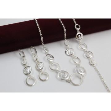 Дамски сребърен комплект Симона 3 колие гривна обеци 3910